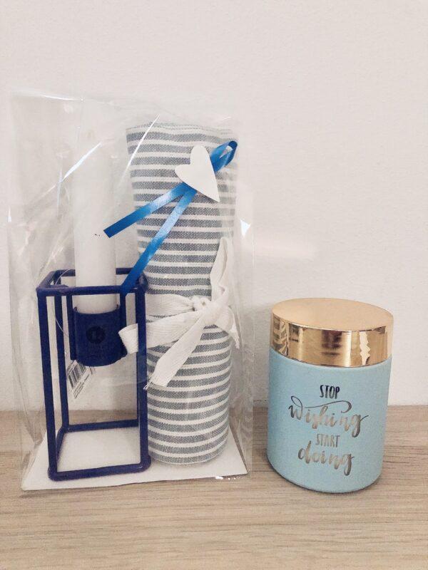 Blå/vit present för hemmet