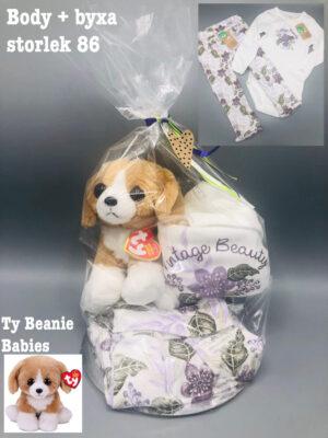 Presentpåse - Body, byxor stl 86 och Ty Beanie Babies