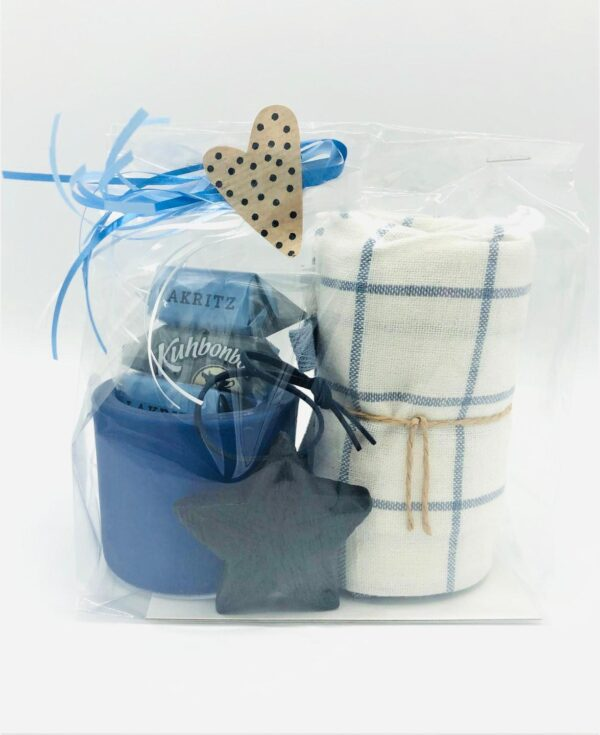 Presentpåse i blått tema