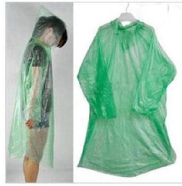 2 pack gröna lättvikt regnponcho + huva One size