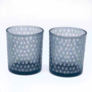 Presentpåse - 2 st mörkgrå glas ljuslyktor