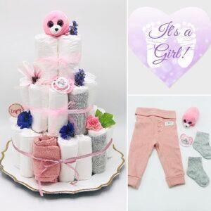 Blöjtårta XL till babyshower ROSA/LILA