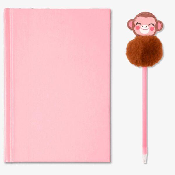 Rosa Apa skrivbok med penna