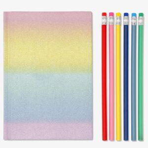 Rainbow anteckningsbok och blyertspennor