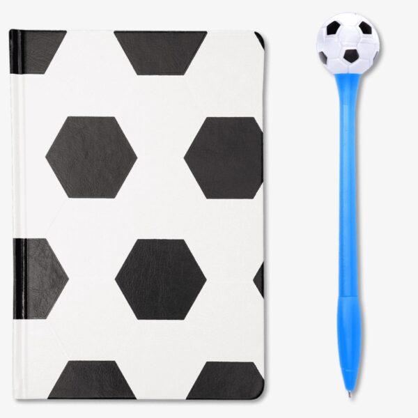 Fotboll anteckningsbok och penna
