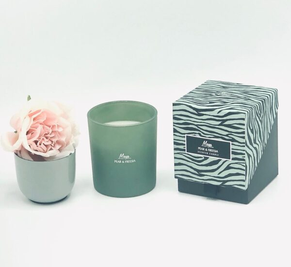 "Presentpåse: MEYA doftljus ""Pear & Fresia"", blomma i kruka"
