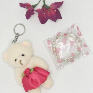 Presentpåse - Nalle nyckelring, hårsnodd, blomma (Fri frakt)