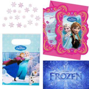 Kalas - Frozen/Frost godispåsar (6 st) och inbjudningskort (6 st) FRI FRAKT