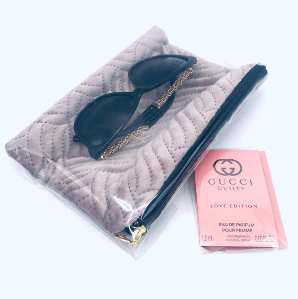 Presentpåse: Sminkväska, solglasögon, mini-parfym