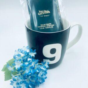 Presentpåse: Mugg, mini-parfym, blomma