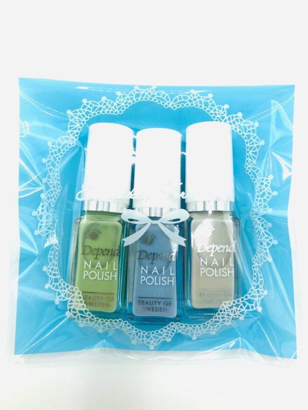 Presentpåse: 3 st DEPEND nagellack (fri frakt)