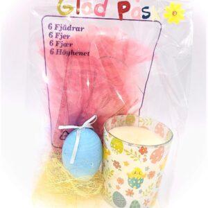 Presentpåse påsk - Fylld ljuslykta, påskfjädrar, ägg, sisal, påse