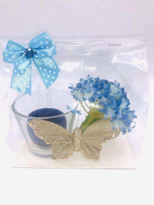 Presentpåse: Glaslykta, ljus, guldfjäril och blomma
