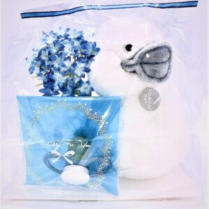 Presentpåse: Gosedjur, napp, blomma