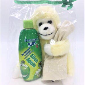 Presentpåse: Gosedjur, bebismössa, barnschampo