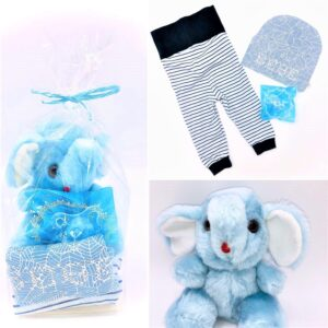 Presentpåse: Elefant, mjukisbyxor, napp, mössa
