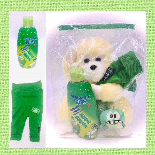 Presentpåse: Apa, mjukisbyxor 56, barnschampo, napp 0-6 mån
