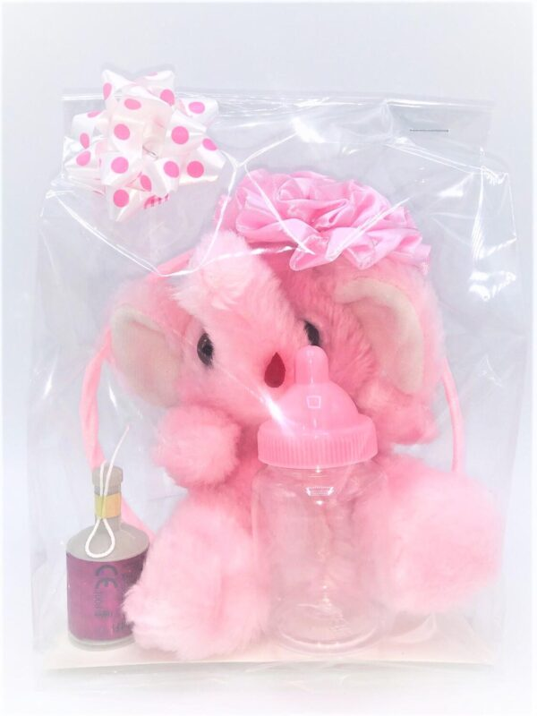 Presentpåse: Elefant, party popper, diadem med rosett