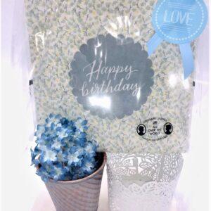 Presentpåse - Kruka med blomma, servetter, ljuslykta