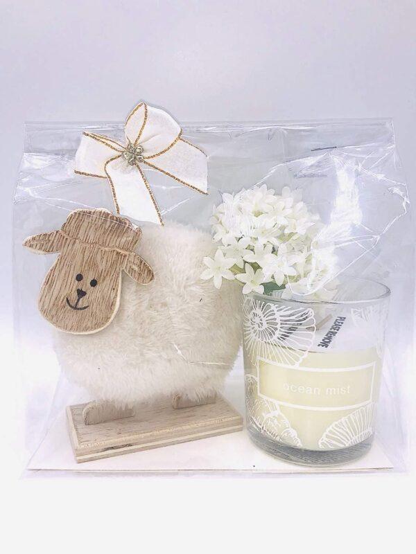 Presentpåse - Får, blomma och Duni doftljus