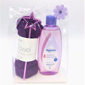 Presentpåse: Babyschampo, stjärna, frottehandduk LILA