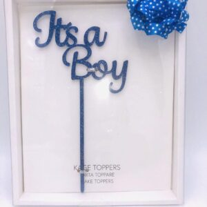 "Presentpåse - ""Its a boy"" cake topper 20 cm blå"