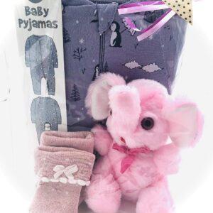 Presentpåsa bebis - Pyjamas stl 56, elefant, strumpor