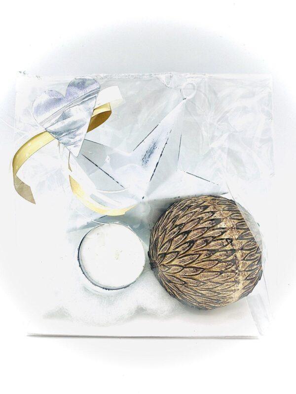 Presentpåse jul - Ljushållare stjärna, guldboll