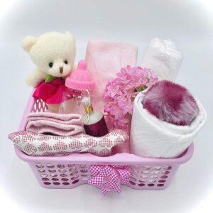 Presentkorg bebis - Rosa