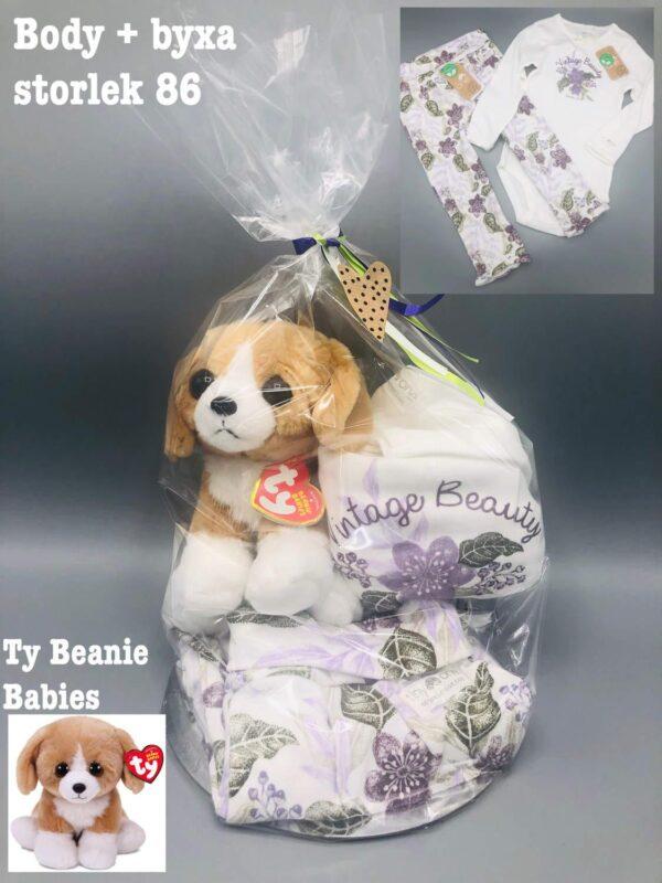 """Presentpåse - Body och byxor stl 86 """"Tiny One"""", hund """"Ty Beanie Babies"""""""