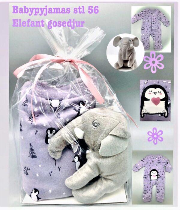 Presentpåse - Bebispyjamas stl 56, gosedjur elefant