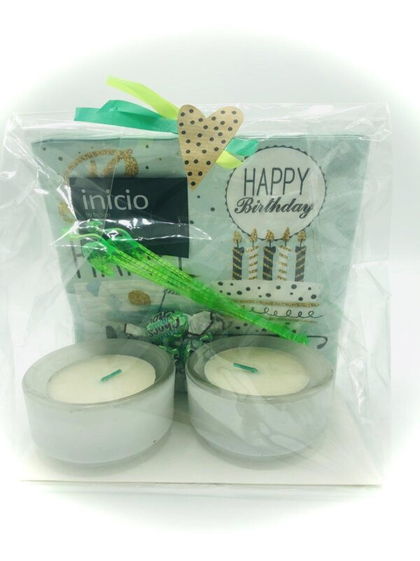 Presentpåse - Happy Birthday servetter, ljuslyktor, mintchoklad