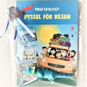 "Presentpåse - Pysselbok ""Skojigt pyssel för resan"", dinosauriepenna"