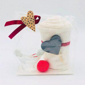 Presentpåse - Handduk, hjärta, glaslykta, dekoration
