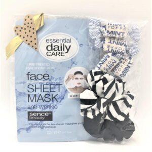 Presentpåse - Ansiktsmask, 2 scrunchies, mintkolor