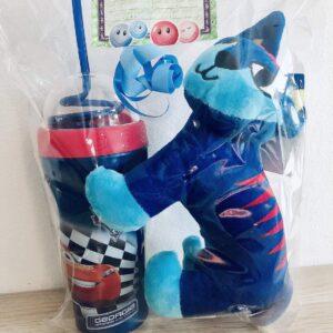 Presentpåse - Mjukisdjur och Blixten McQueen Cars flaska