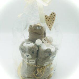 Startpaket bebis - blöjtårta Brun/guld