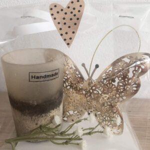 Lyxpåse 1; handgjord ljuslykta, guldfjäril, blomsterkvist