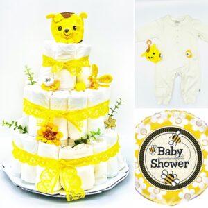 Blöjtårta XL till babyshower GUL