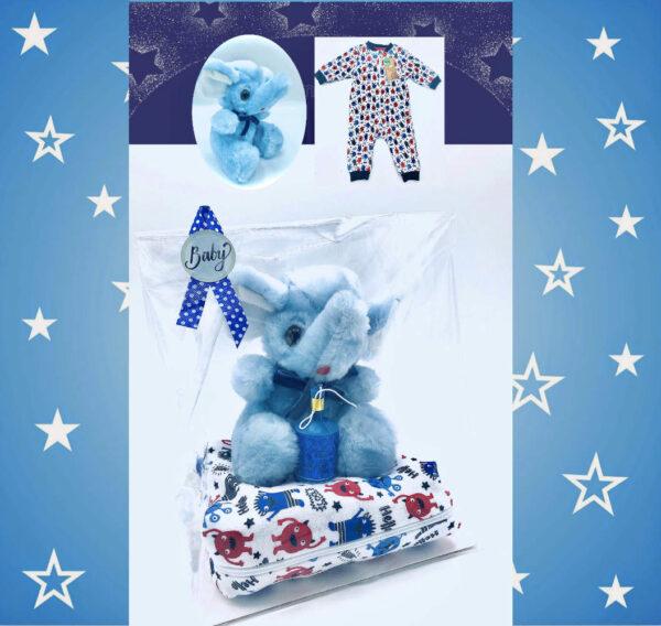 Presentpåse - pyjamas stl 56, elefant och konfetti