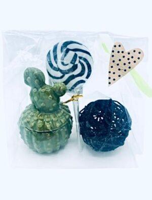 Presentpåse - kaktusburk, decoboll, lakritsklubba