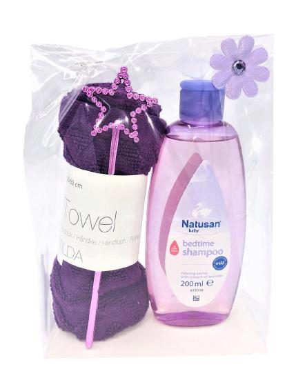 Presentpåse: Frottehandduk, stjärna, Natusan bedtime schampo