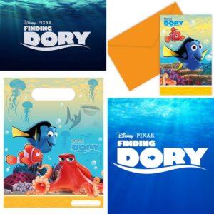 """6 pack godispåsar och inbjudningskort """"Finding Dory"""" / Doris"""