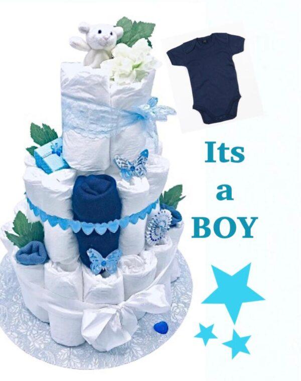 Blöjtårta XL till babyshower BLÅ