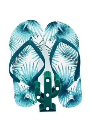 Presentpåse Tropical - Flipflops 38/39 med LED-kaktus