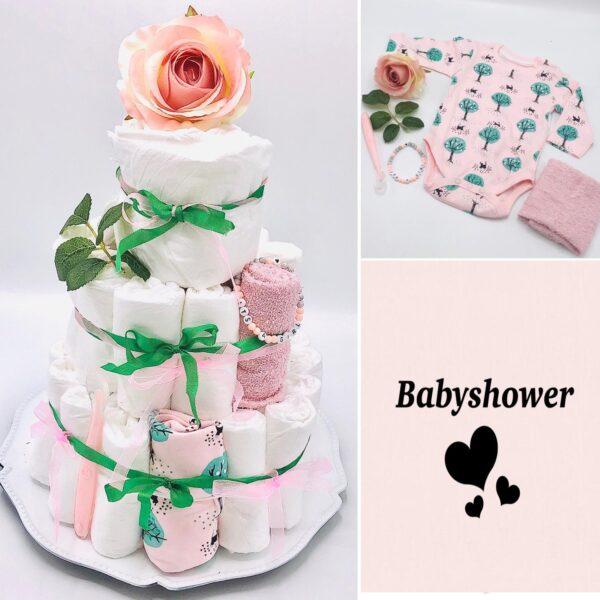 Blöjtårta XL till babyshower ROSA/GRÖN