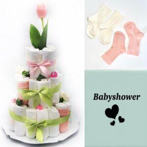 Blöjtårta XL till Babyshower Rosa/lime