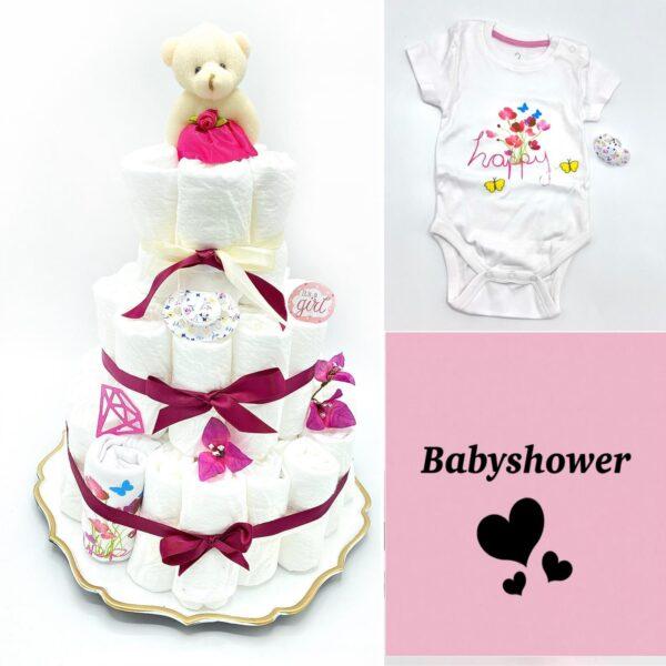 Blöjtårta XL till Babyshower Cerise,