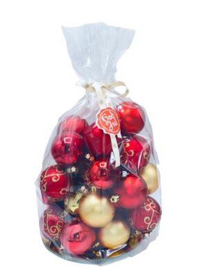 24 st julgranskulor i rött och guld