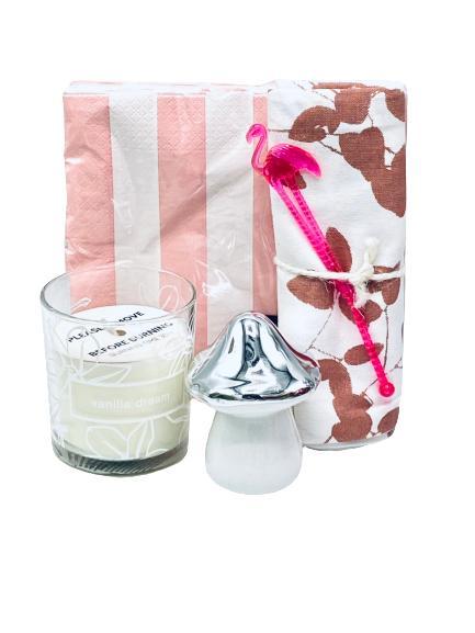 Presentpåse - Servetter, handduk, Duni ljus, svamp